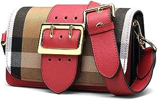 Fine Bag/Fashion Plaid Shoulder Bag Wide Shoulder Strap Casual Small Square Bag Mini Simple Crossbody Bag Women's Bag College Dating (Color : Red, Size : 20 * 8 * 13cm)