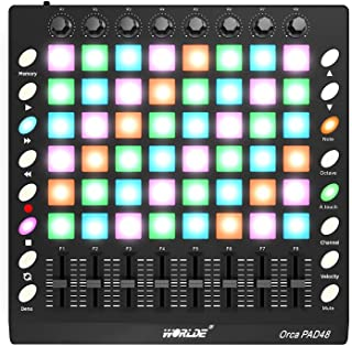Muslady Controlador de Almohadilla de Batería MIDI USB Portátil 48 Teclas Retroiluminadas RGB 8 Botones 16 Botones 8 Deslizadores con Cable USB