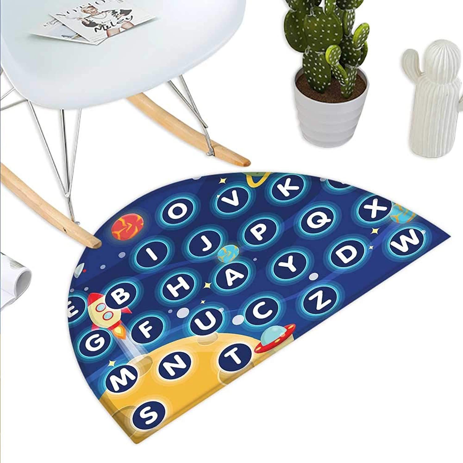 Kids Activity Semicircle Doormat Random Letters of The Alphabet in The Outer Space with Planets and Stars Halfmoon doormats H 39.3  xD 59  Multicolor