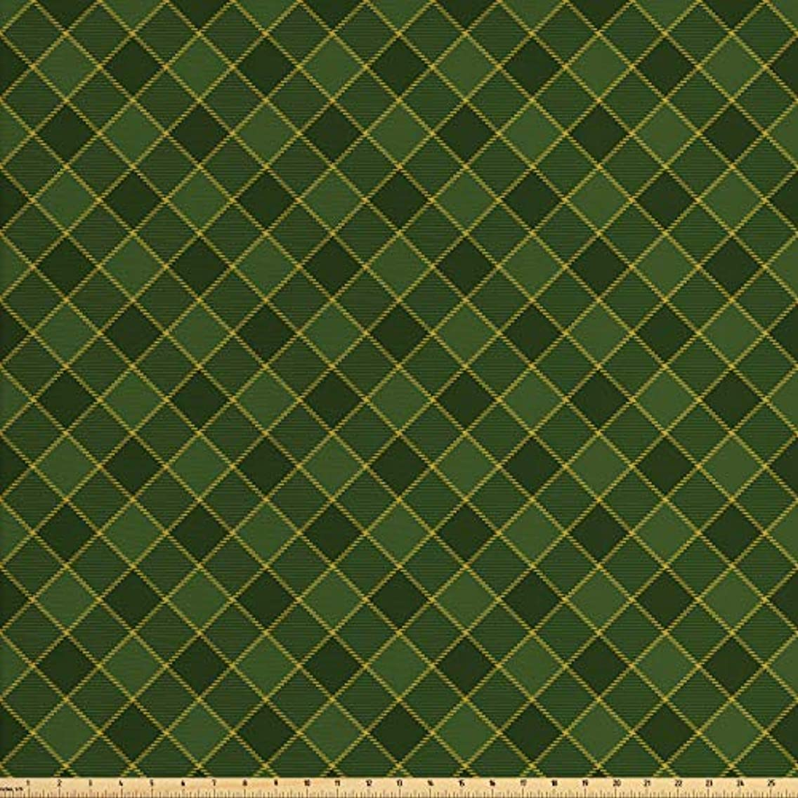 Lunarable Green Fabric by The Yard, Traditional Old Fashioned Argyle Pattern Retro Style Plaid, Decorative Fabric for Upholstery and Home Accents, 2 Yards, Hunter Green Forrest Green Yellow