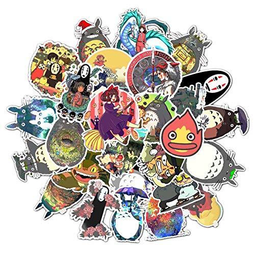 Haushele OFD Anime Aufkleber Koffer Gitarre Sticker Telefon Aufkleber Skateboard Aufkleber Naruto Mein Held Akademie Sailor Moon Nette Katze Doodle Aufkleber (50 Stück Miyazaki Hayao)