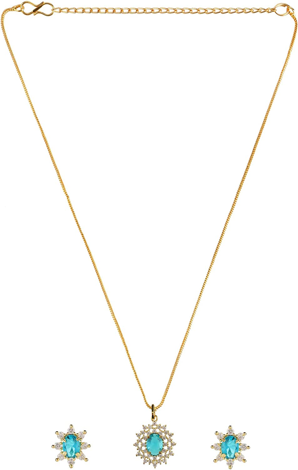 Efulgenz Bridal 14 K Gold Plated Red Crystal Cubic Zirconia Pendant Chain Necklace Earrings Jewelry Set for Women Girls Bride Bridesmaids
