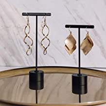 BanST Earring T Stand Jewelry Display for Show, Retail T Bar Earring Stand Organizer, Jewelry Photography Display for Show【Black-Round Base-Height 4 1/2