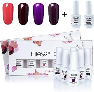 Gel Nail Polish, Elite99 Soak off UV LED Gel Polish Varnish Nail Art Gift Set 4 Colors + Base Coat and Top Coat 8ml (C034)