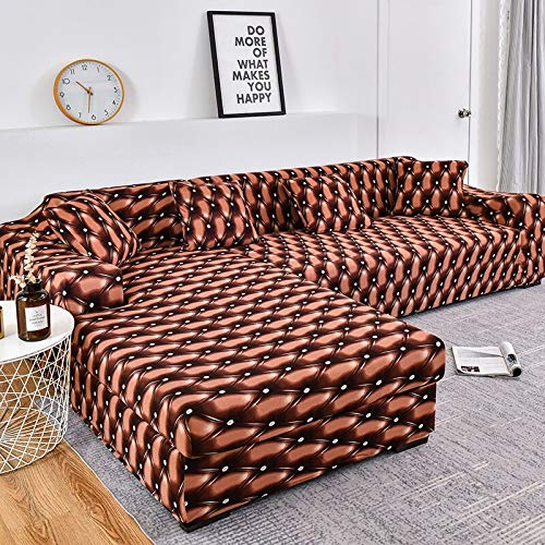 WXQY Funda de sofá con diseño de Rayas, Funda de sofá de algodón, Funda de sofá elástica para Sala de Estar, sofá Chaise Longue en Forma de L A2 2 plazas
