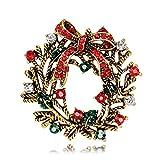 ZSCRL Modische Weihnachtskranzbrosche, zarte Damenkorsage mit Diamanten, 4,3 cm Gold