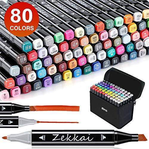 Zekkai Graffiti Stifte, 80 Farbige Marker Stifte Set Fettige Mark Farben Twin Tip Textmarker Markerstifte Set für Studenten Manga Kunstler Design Schule Drawing