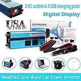 2019 Digital Display 1500W Car Power Inverter DC 12V to AC 110V Charger Converter - 2 AC outlets and 4 USB Charging Ports - Cigarette Lighter Plug Modified Sine Wave