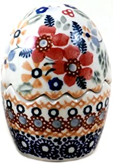 Polish Pottery Salt Pepper Shaker Puzzle Egg Christmas Posies