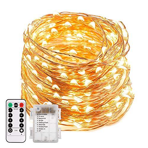 200 LED Lichterkette, ECOWHO 20M 8 Modi IP65 Wasserdicht Kupferdraht Lichterkette Batterie, Lichterkette Außen mit Fernbedienung & Timer, Lichterketten für Zimmer,Weihnachten