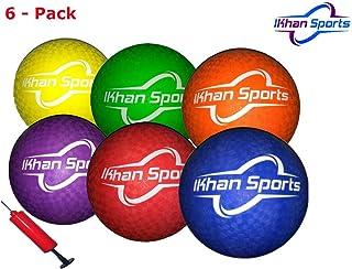 Ikhan Sports ドッジボールボール - メッシュ、ポンプ、ニードル付き6個パック