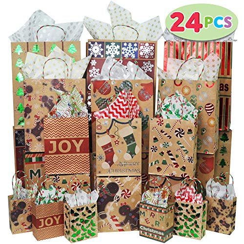 24 Christmas Foil Kraft Gift Bags Assorted Sizes with Twine Handles for Xmas Holiday Present Wrap Décor, Kraft Goody Bags, School Classroom Party Favor Supplies, Goodie Bags Decoration.