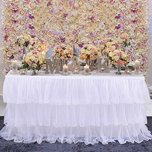 falda de mesa hecha a mano de 3 niveles de tul de malla para tartas, postres, mesa falda para boda, cumpleaños, fiesta de princesa, fiesta de bienvenida de bebé, fiesta de los niños, Blanco, 6