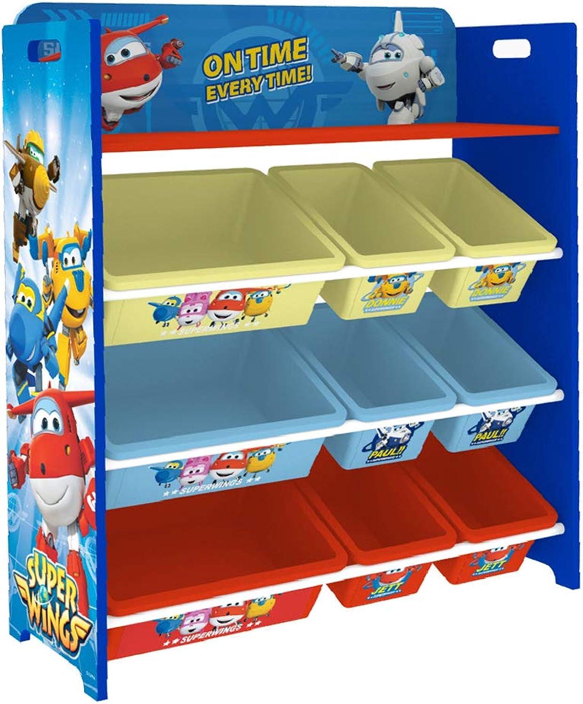 Style home Kinderregal Spielzeugregal Bücherregal Aufbewanhrungsregal Holz Kinderzimmerregal Spiezeugaufbewahrung mit Boxen & Ablage ''Super Wings'' C3DTJ001