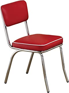Retro Side Chairs With Black Cushion Chrome And Red (Set Of 2)