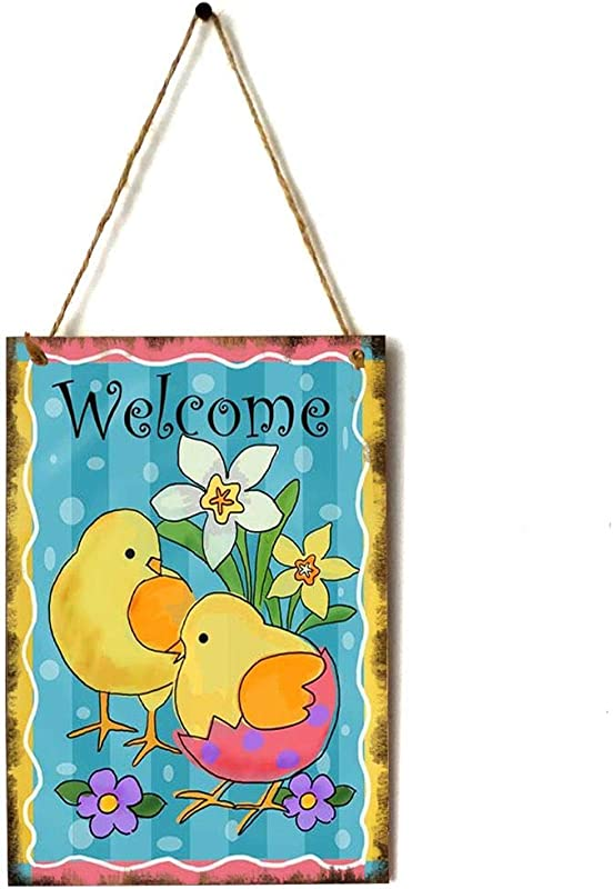 Zerama Happy Easter Greetings Animal Plaque Door Hanger Wooden Wall Sign Home Party Festival Decoration