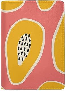 Orange Cream and Black Papaya Blocking Print Passport Holder Cover Case Travel Luggage Passport Wallet Card Holder Made with Leather for Men Women Kids Family