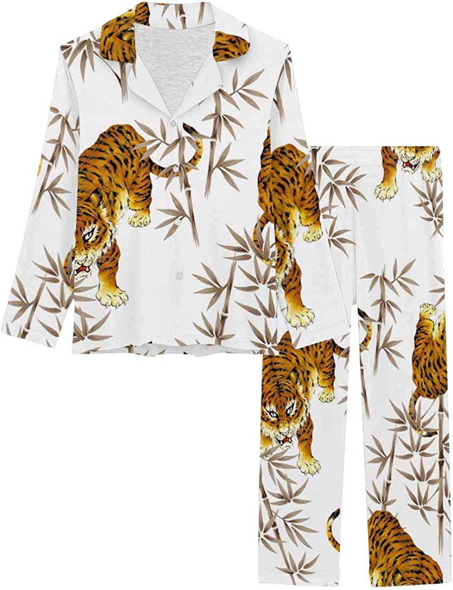 InterestPrint Sleepwear Button Down Loungewear with Long Pants Tiger and Bamboo