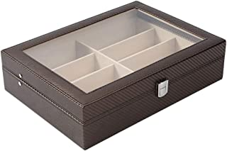 Glasses Storage Box Carbon Fiber 8 Grid Storage Display Glasses Box Jewelry Box Simple Finishing Box (Color : Brown)