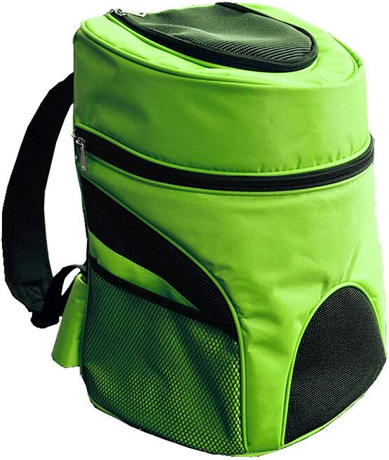 FJH Double Shoulder Pet Box Breathable Cage Cat Dog Backpack Portable Travel Transport Car Out of Consignment 4 colors (color   Green, Size   34  25  39cm)