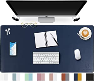 Dual-Sided Desk Pad,GOODYEP 2021 Upgrade Sewing Edge PU Leather Office Desk Mat,Desk Blotter Protector,Laptop Desk MAT,Desk Writing Pad for Office and Home, Mouse Pad(Dark Blue/Yellow, 31.5