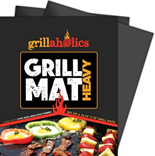 Grillaholics BBQ Grill MatHeavy - 600 Degree Max Temperature Grilling Sheets - Set of 2 Grill Mats Non Stick - Lifetime M...