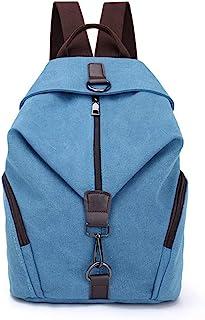 Mochila de Lona Mujer, Bolsos Bandolera Vendimia Multifuncional Casual Antirrobo Bolsas de Hombro Mochila de Gran Capacidad para Viajes Vacaciones Senderismo Camping (Azul)