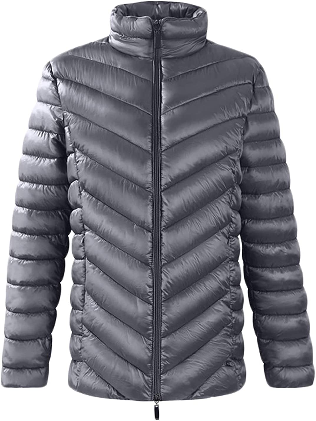 Jenkoon Women Lightweight Stand Collar Cotton Padded Quilted Coat Slim Fit Puffer Jacket