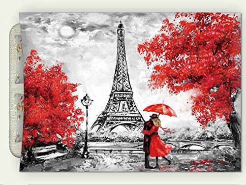 Minicoso Custom Flannel Throw Blanket Oil Painting Paris European City Landscape France Wallpaper Eiffel Tower Black White and Red Autumn Winter Warm HD Digitals Print Blanketry, 47' W x 31' H