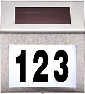 DeeCozy huisnummerplaat met zonne-energie, waterafstotend, huisnummerplaat van roestvrij staal, verlicht voor buiten