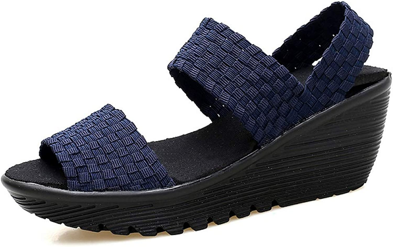 T-JULY Women Sandals Handmade Woven Nylon Women's Wedges shoes Woman Ladies Sandals Summer Female Footwear