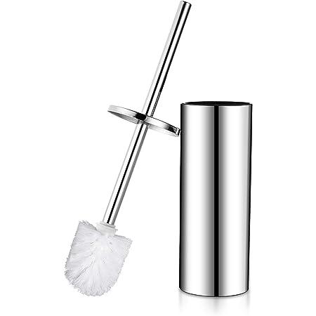 Hoomtaook Brosse Toilette Balai WC et Support sur Pied Acier Inoxydable avec Une Tête de Remplacement Supplémentaire, Finition Chromé