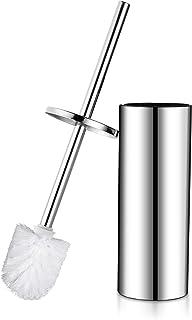 Hoomtaook Brosse Toilette Balai WC et Support sur Pied Acier Inoxydable avec Une Tête de Remplacement Supplémentaire, Fini...