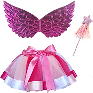 Girl Tutus Skirt Butterfly Wings Costume for Kids Girls Rainbow Fairy Wings Dress Up Tutu With Angel Wand Role Play Party