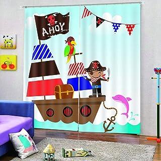 SKYZAHX 3D Cortinas Opacas con Aislamiento Tejido de Poliester Barco Pirata Térmico para Sala de Estar Oficina Hotel Ventanas Infantiles 140 x 183 cm