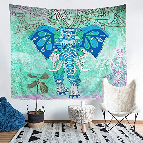 Tapiz de pared para niños, diseño de animales, acuarela, para colgar en la pared, para niños, niñas, estilo boho, teñido de corbata, verde y morado, para dormitorio, sala de estar, 152 x 224 cm
