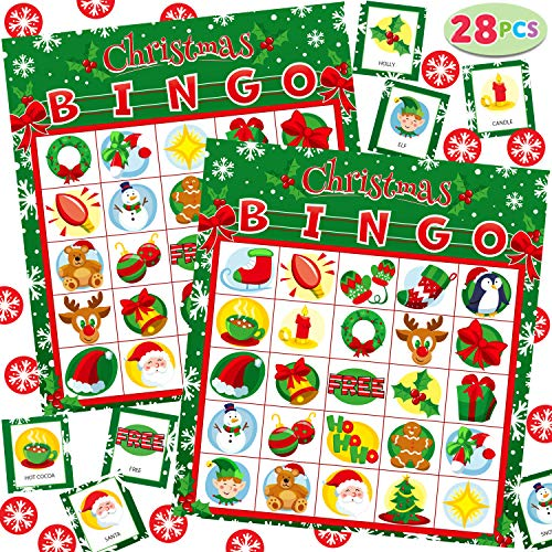 28 Players Christmas Bingo Cards (5x5) for Kids Xmas Party Supplies Goodies Games, Kids School Classroom Goody Gift Filler Stuffers, Indoor Family Activities (Christmas)
