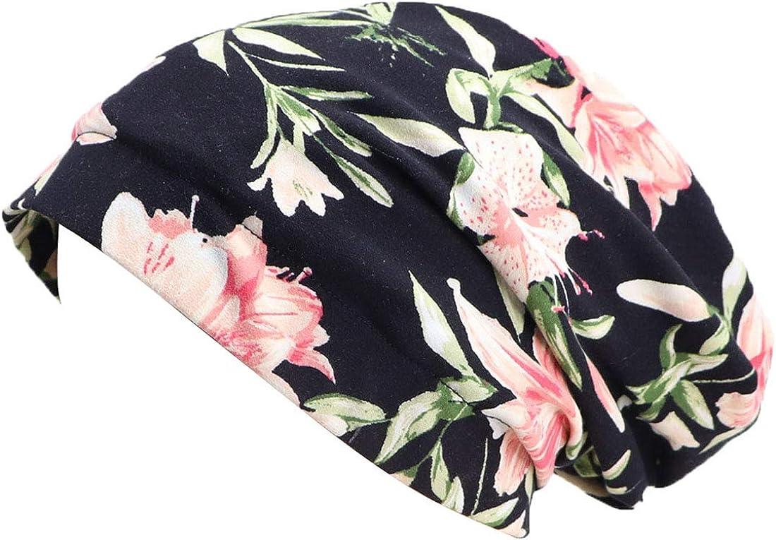 Coolwife Womens Satin Lined Sleep Cap Turban Beanie Slouchy Bonnet Headwear Hair Slap Hat