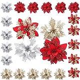 Gukasxi Flores navideñas 24 Piezas Flores de Navidad Boda de Artificial de Purpurina de Nuevo Deseo de Festivo Poinsettia Purpurina Adorno de �rbol de Navidad Glitter Poinsettia Adornos Florales
