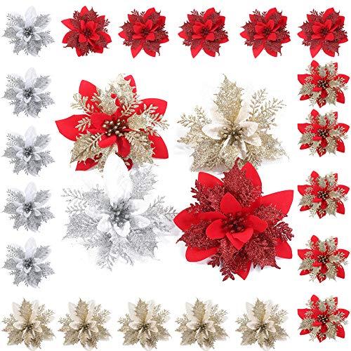 24 Glitter Poinsettia Weihnachtsbaum Ornament Weihnachten Blumen Dekorative Weihnachten Künstliche Blumen für Weihnachtskranz Weihnachtsbaum Ornaments Weihnachten Haus Haupteingang Tür Dekoration