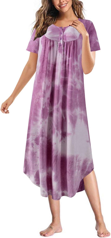 SUNNYME Max 79% OFF Nightgowns for Women Long Plain Sleeve Sleepshirt shop Short