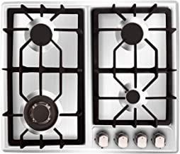 NOXTON Gas Cooktop Hob Gas Stove Top 4 Sealed Burners for LPG Natural Gas Stainless Steel with FFD Thermocouple Protection To Clean Easy with Plug(Comes LPG Gas Kit)for 110V~240V