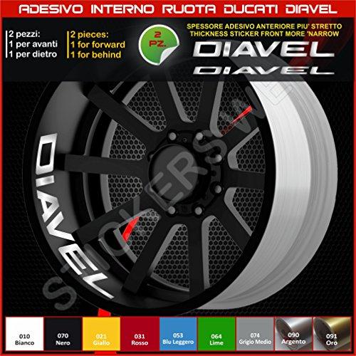 Ducati Diavel, Sticker für Rollen, Teil Speicher, liniert, für Felgen, Aufkleber, cód. 0218 090 Silber