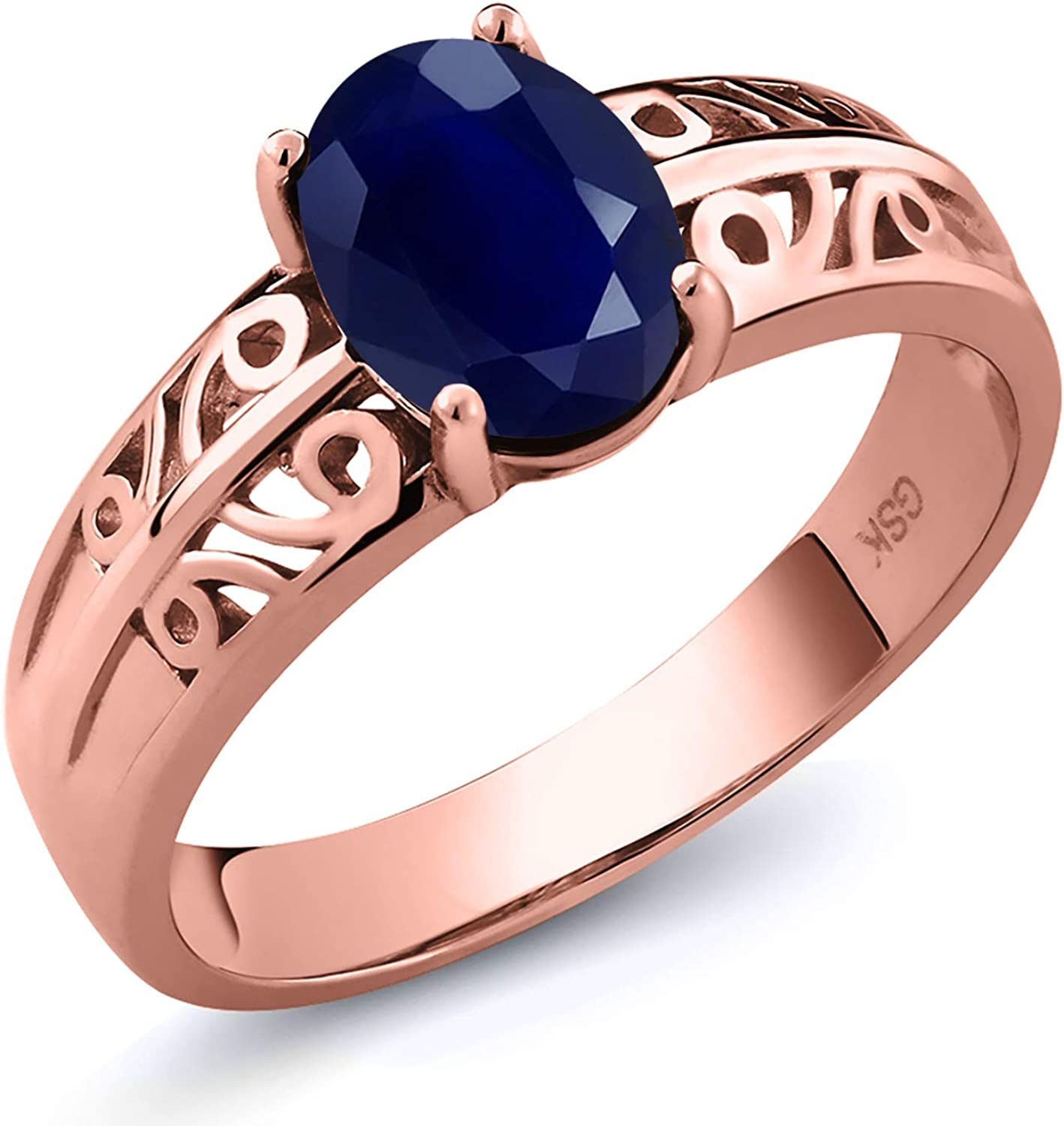 Baltimore Mall Gem Stone King 1.80 Ct Oval Blue Plated Rose 18K S Sapphire Gold Free Shipping New