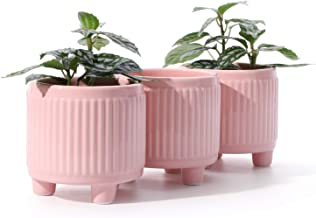 POTEY 056103 Ceramic Succulent Planter Pots - 3.75 Inch Indoor Small Planters Bonsai Container with Drainage Hole & 3 Legs...