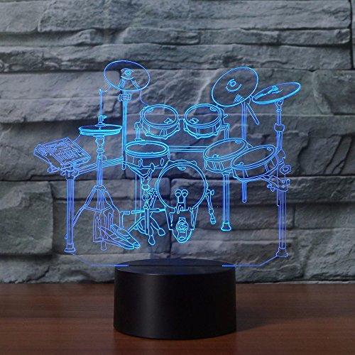 3D schlagzeug Optische Illusions-Lampen, Tolle 7 Farbwechsel Acryl berühren Tabelle Schreibtisch-Nachtlicht mit USB-Kabel für Kinder Schlafzimmer Geburtstagsgeschenke Geschenk