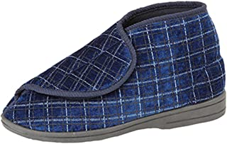 Zedzzz New Mens Gents Wide Fit Velcro Slippers Boots Bootee Navy Size UK 6-12