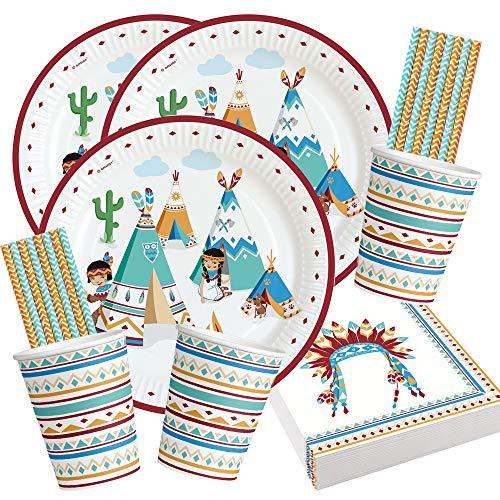 Amscan/Diverse 68-teiliges Party-Set - Indianer Tipi & Tomahawk - Teller Becher Servietten Trinkhalme für 16 Kinder