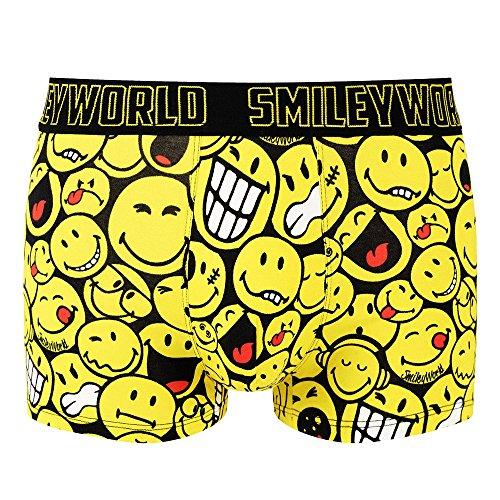 Smiley World Funny Hip lustige Boxershort Unterhose Pant Underwear Geschenk für Herren, Jungen, lustig witzig frech gelbe Smileys 95% Baumwolle (S, gelb, schwarz, weiß)