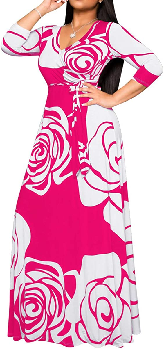 African Dresses for Women Sexy V Neck Floral Long Maxi Dresses Casual Loose Party Plus Size Dress